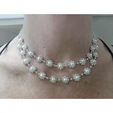 Collier perles et strass